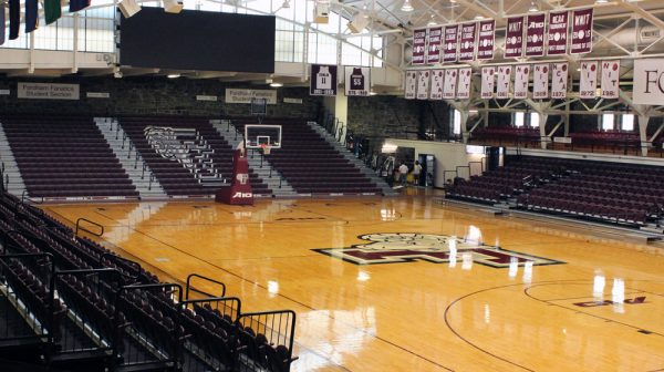 The Rose Hill Gymnasium underwent phase one of its renovations this summer, which involved the installation of new lower-level seating. (PHOTO COURTESY OF FORDHAM SPORTS)