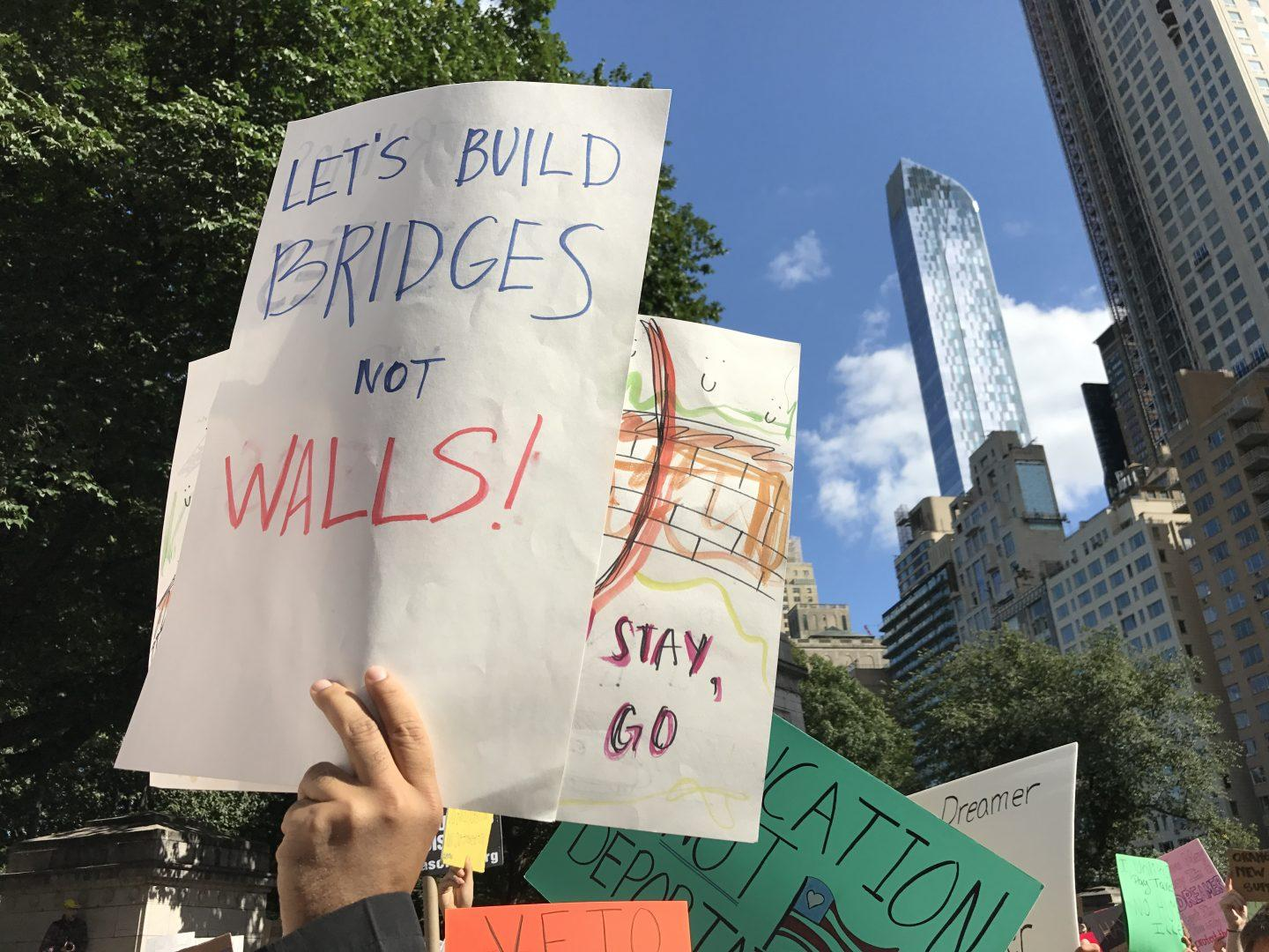 Following+President+Donald+Trump%27s+decision+to+phase+out+the+Obama-era+Deferred+Action+for+Childhood+Arrivals+%28DACA%29+program%2C+New+Yorkers+gathered+in+Columbus+Circle+today+to+demonstrate+their+support+for+DACA+recipients+and+all+immigrants.