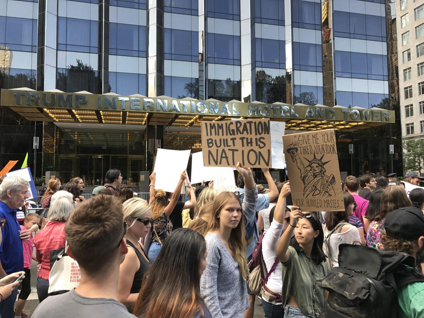 New Yorkers gathered in Columbus Circle on September 9 to protest Trump's decision to end DACA. (STEPHAN KOZUB/THE OBSERVER)