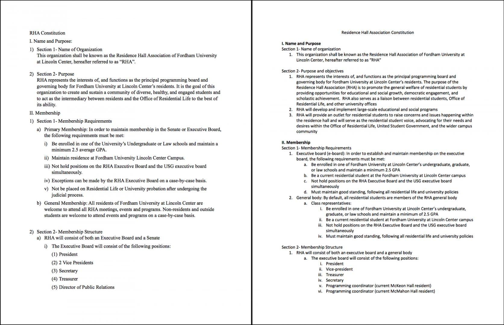 A Side-By-Side Comparison of RHA's Old and New Constitutions