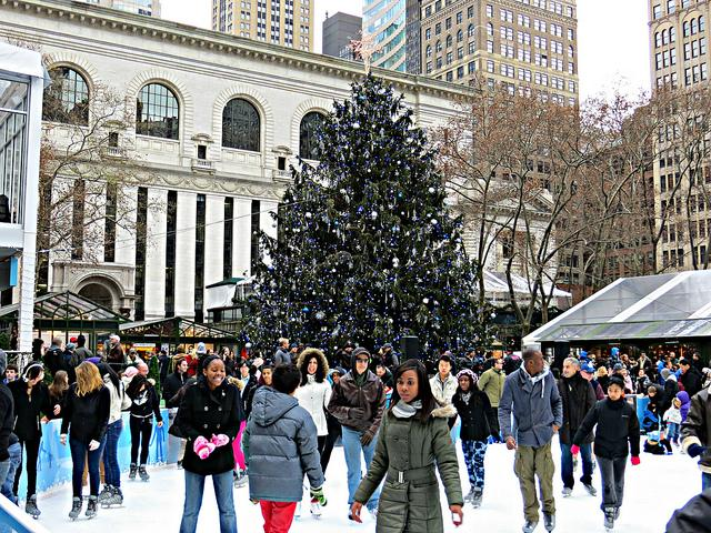 Bryant Park is one of NYC's best skating spots. (JOHN WISNLEWSKL VIA FLICKR)