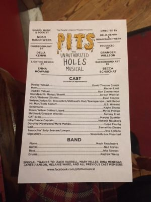 """""""PITS: The Unauthorized Holes Musical"""" is a hilarious take on the classic Sachar story. (Ethan Shea / The Observer)"""