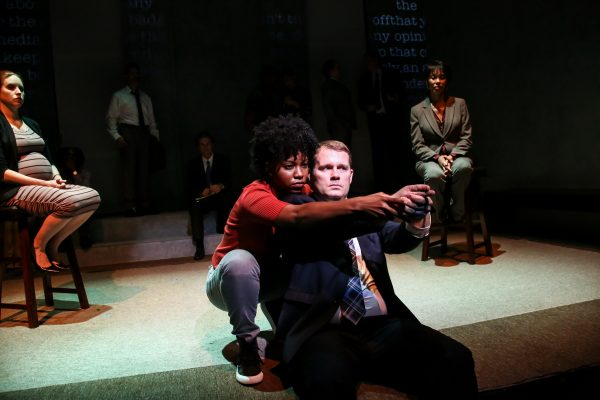 Renika Williams plays and eye withness with Ian Campbell Dunn as Darren Wilson.  (COURTESY OF CLAY ANDERSON)