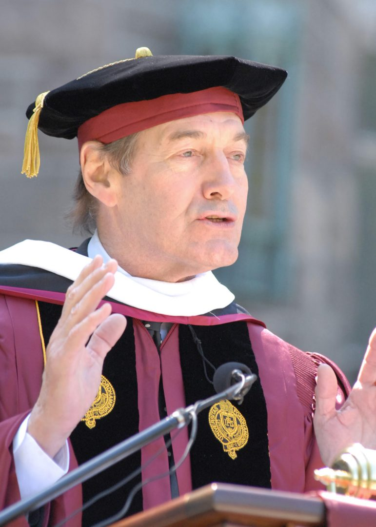 Charlie Rose, who was Fordham's commencement speaker and an honorary degree recipient in 2008, was recently accused by multiple women of sexual misconduct. (JON ROEMER/FORDHAM UNIVERSITY)