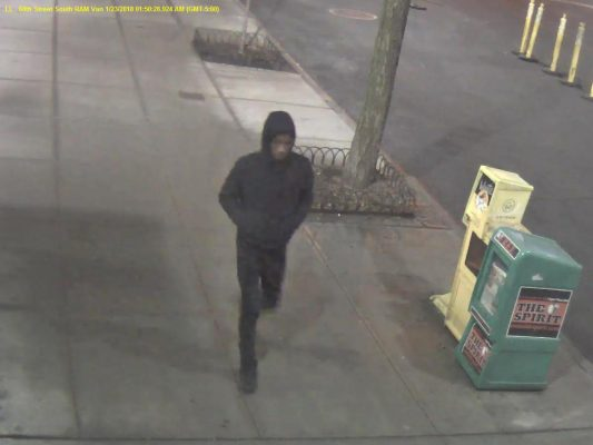 (COURTESY OF PUBLIC SAFETY) The suspect was recorded in the surveillance footage of a Ram Van camera on 60th Street.