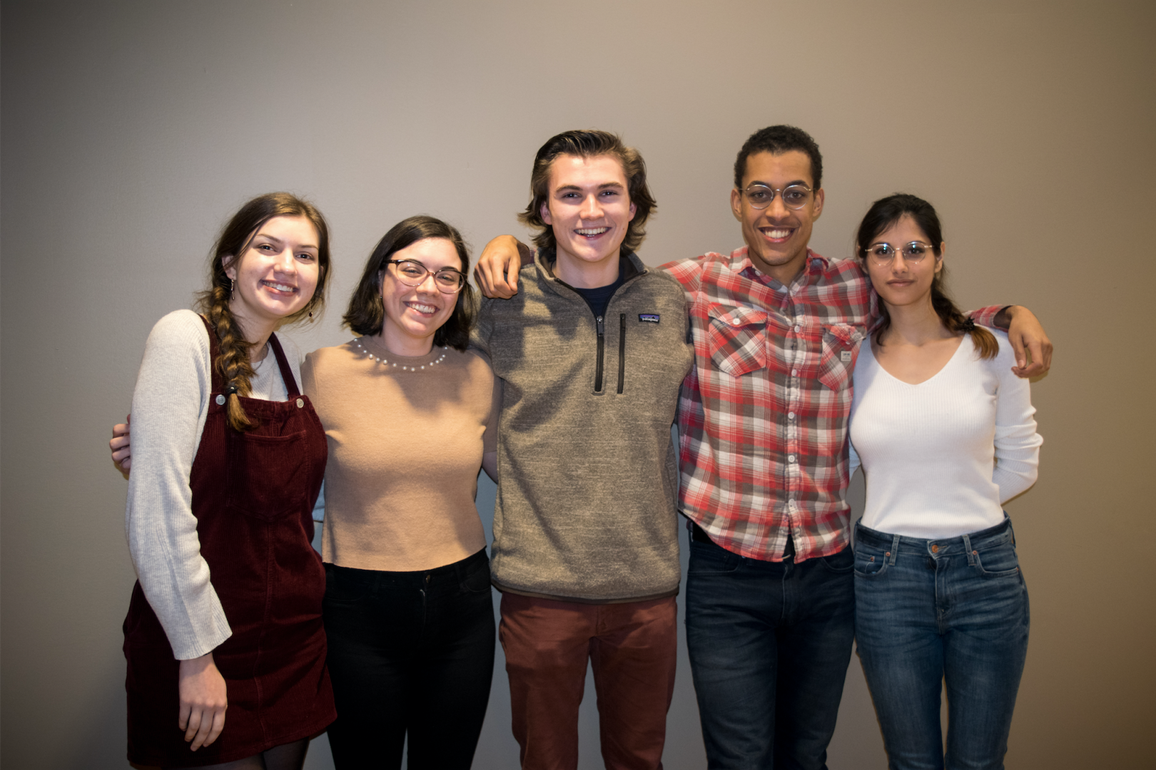 (left to right) RHA Representatives Samantha Umani, FCLC '21, Lucia Vacchiano, FCLC '20, Andrew Beecher, FCLC '21, Samuel Blackwood, FCLC '19, and Cristina Mendez, FCLC '19 worked to draft the new proposal. (LENA ROSE/THE OBSERVER)