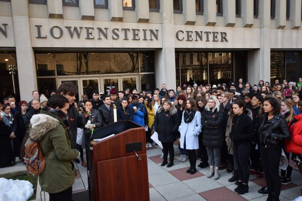 Members+of+United+Student+Government+and+Campus+Ministry+address+the+student+walkout+crowd.++%28ANDREW+BEECHER%2FTHE+OBSERVER%29