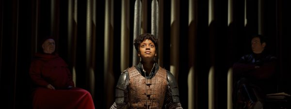 """Condola Rashad as Joan of Arc in Manhattan Theatre Club's new revival of """"Saint Joan,"""" now open on Broadway. (COURTESY OF JOAN MARCUS)."""