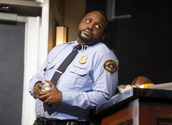 Lobby Hero stars Michael Cera, Chris Evans, Brian Tyree Henry (pictured), and Bel Powley. (COURTESY OF JOAN MARCUS)