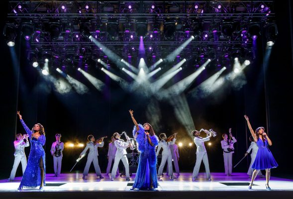 "LaChanze (Diva Donna), Ariana DeBose (Disco Donna), Storm Lever (Duckling Donna), and the cast of ""Summer: The Donna Summer Musical,"" now open at the Lunt-Fontanne Theatre. (COURTESY OF JOAN MARCUS)"