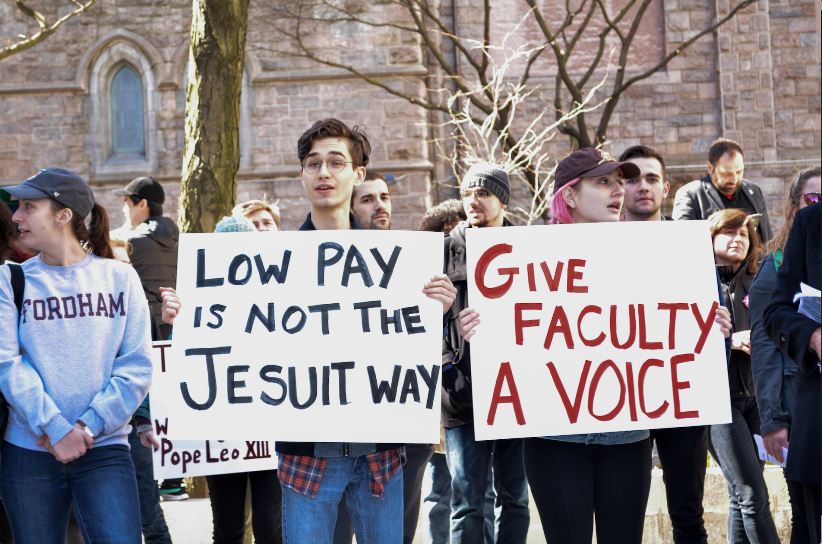 Faculty and students rallied to protect faculty benefits. (COURTESY OF ADRIANA BALSAMO-GALLINA)