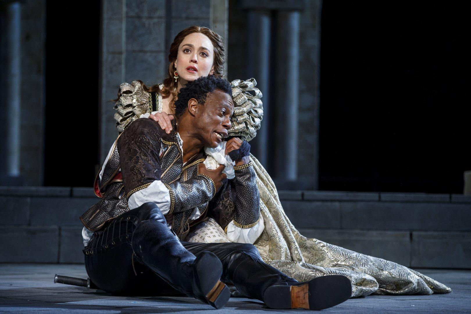 Heather Lind and Chukwudi Iwuji in the Free Shakespeare in the Park production of Othello, directed by Ruben Santiago-Hudson, running at the Delacorte Theater in Central Park through June 24. (COURTESY OF JOAN MARCUS).