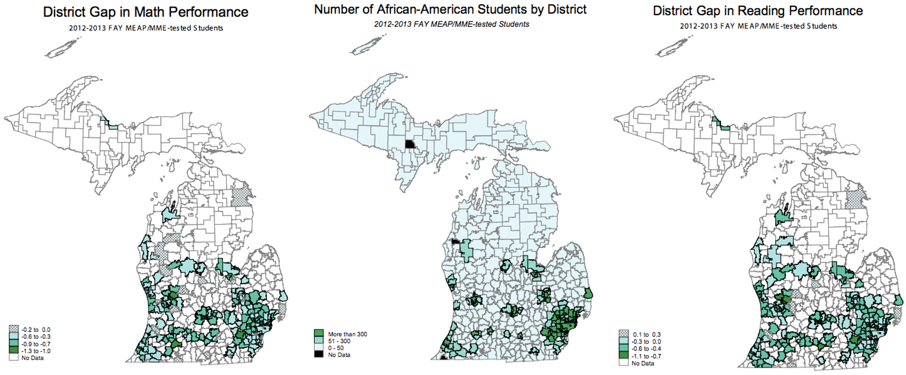 Depicted: number of black students in each Michigan school district compared to the respective achievement gap in reading and math performance, measured in Grade Equivalent Units. Zero represents the national average, so a negative numeric value indicates how many grade levels below the mean students in the district are performing.