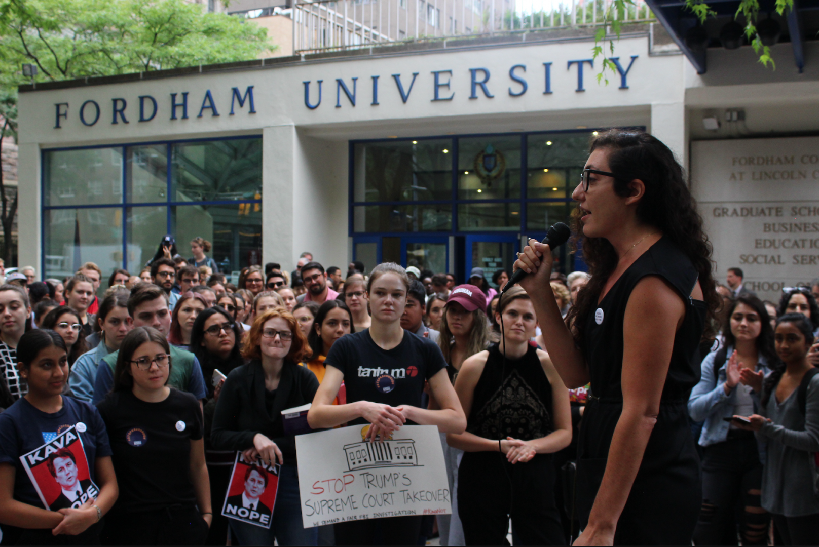 Fordham students rally to protest Kavanaugh's appointment and stand with survivors.