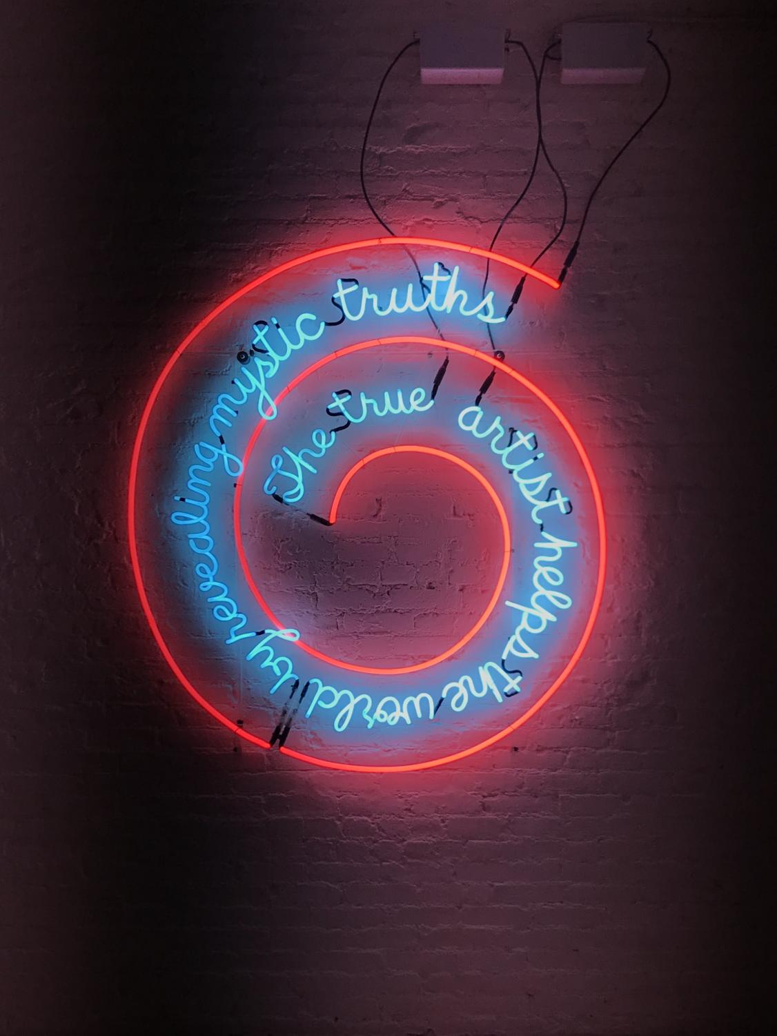 Bruce Nauman is known for creating neon light displays.