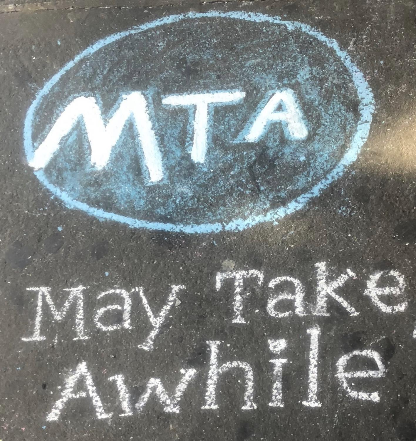 This may be a chalk illustration, but the disrepair of the New York City subway system is not child's play. (COURTESY OF ZAYDA BLEECKER-ADAMS)