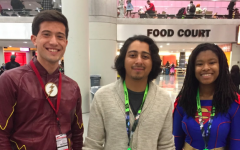 Gabriel Samandi, FCLC '22 (left), and Daejah Woolery, FCLC '22 (right), meet actor Tony Revolori (center) at NYCC 2018.