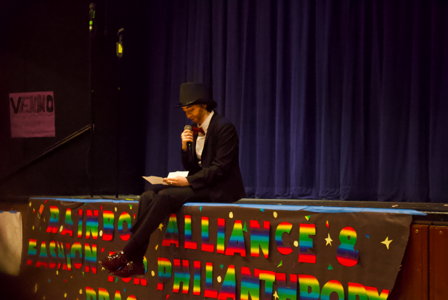 "Drag King ""Just Kyle"" reads a letter written by the Rainbow Alliance e-board addressing the issues around drag, including transphobia."