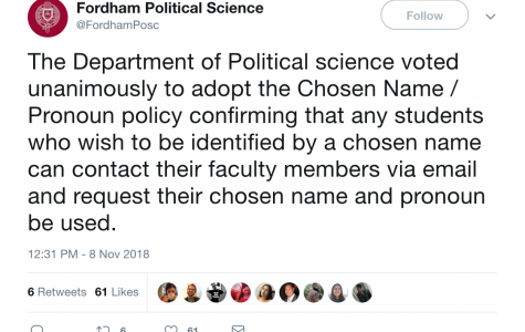 Political Science, MLL Departments Vote to Adopt New Name and Pronoun Policy