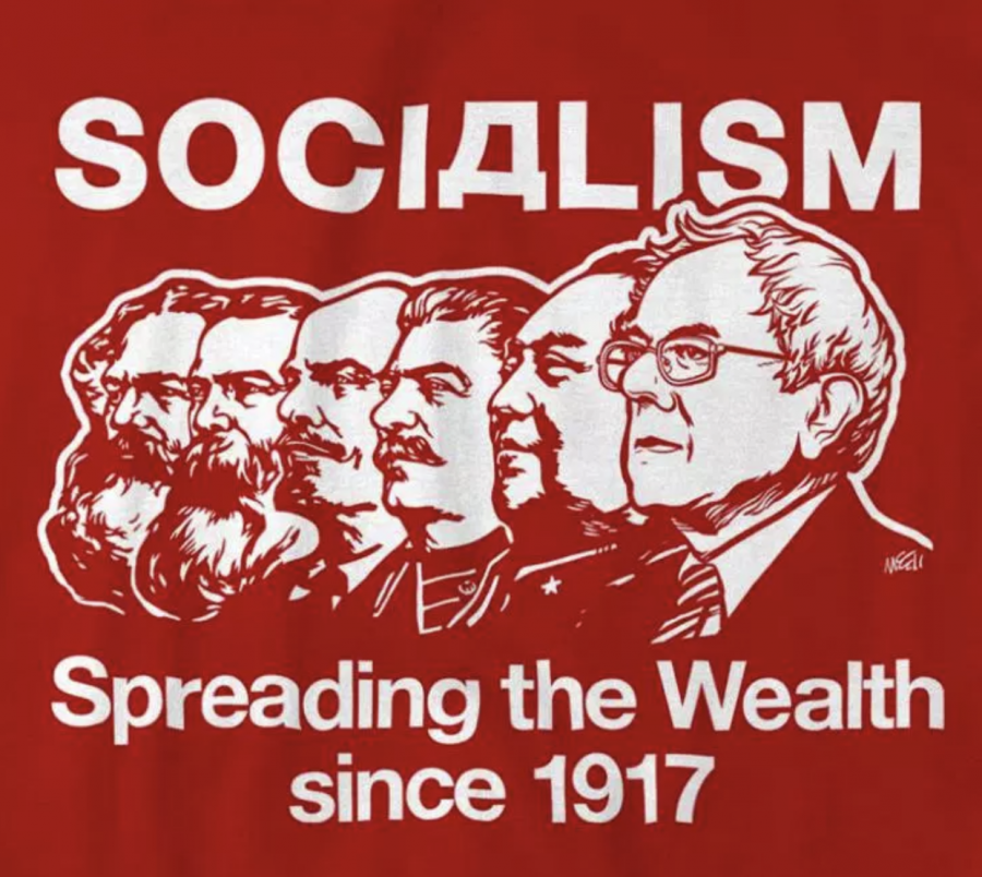 A T-shirt design meant to disparage socialists from Karl Marx to Bernie Sanders. (COURTESY OF LIBERTYCADRE.COM)