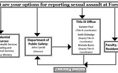 If a female student wants to report a Title IX case on campus, her options are almost exclusively male. (GRAPHIC ILLUSTRATION BY ESME BLEECKER-ADAMS/THE OBSERVER)