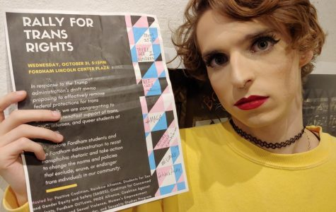 A defaced poster advertising the Rally for Trans Rights was discovered in a bathroom stalls on Nov. 1. (KEVIN CHRISTOPHER ROBLES/THE OBSERVER)