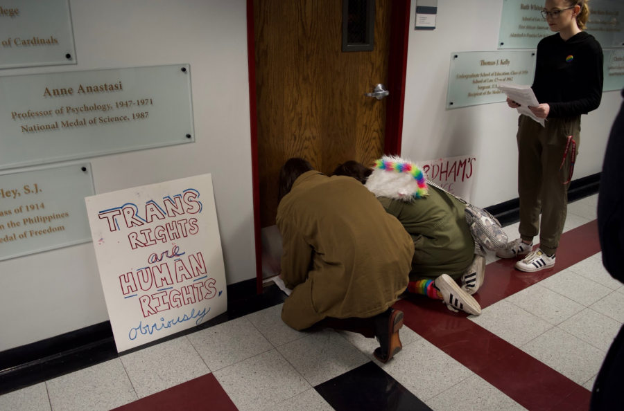 Students left copies of the open letter under Fordham's vice president's office door. (LENA ROSE/THE OBSERVER)