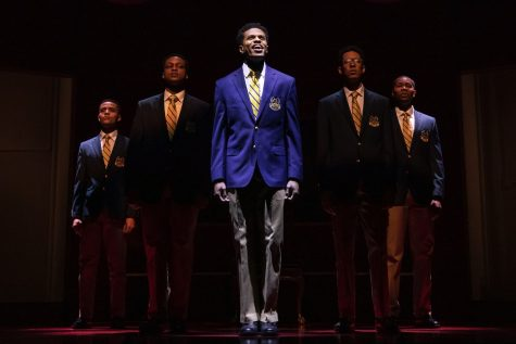 "The cast of ""Choir Boy,"" center: Jeremy Pope, which opened at the Samuel J. Friedman Theatre earlier this month."