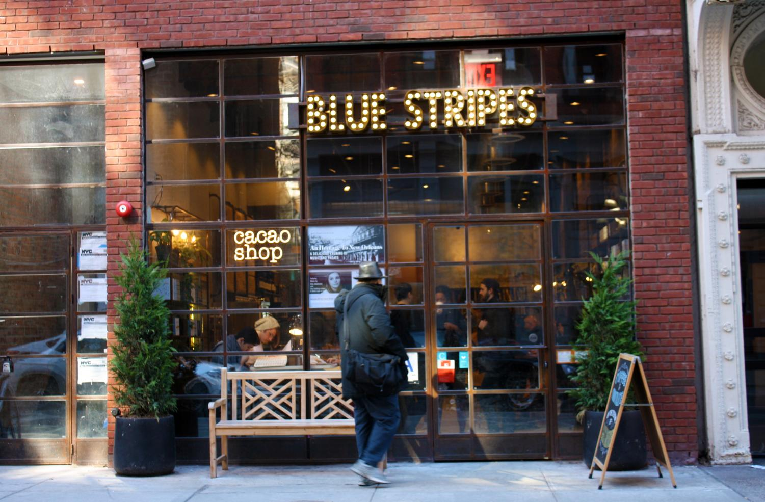 Blue Stripes offers coffee and chocolate treats at a 10 percent to students.