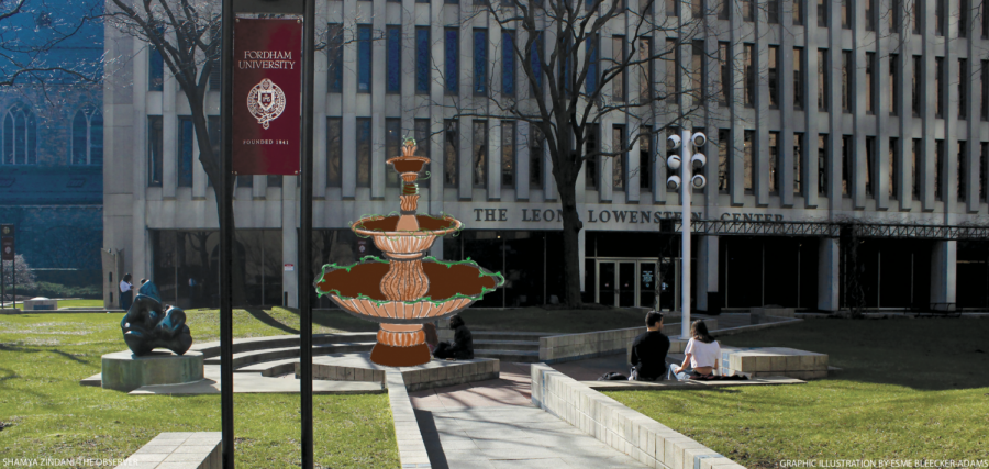 Frederick Wertz, dean of Fordham College at Lincoln Center, envisions a large fountain in the center of the Outdoor Plaza.