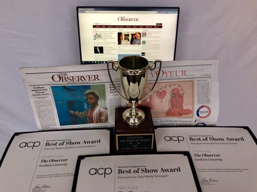 The Observer won First Place Best of Show for a four-year less-than-weekly newspaper, and placed fourth in Best of Show Four-Year Website (10,000 or less enrollment) category and sixth for Best of Show Newspaper In-Depth News Special Section.