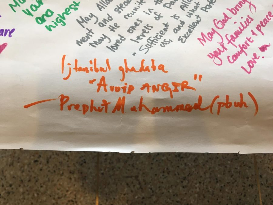 "A poster was provided afterwards on which students could write messages of their solidarity against the terror that befell New Zealand. One student wrote a hadith in Arabic, a saying of the Prophet Muhammed: ""Ijtanibul ghadaba,"" or"