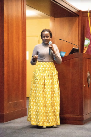 Mireille Twayigira spoke at Fordham Lincoln Center about her experiences as a refugee in central Africa.