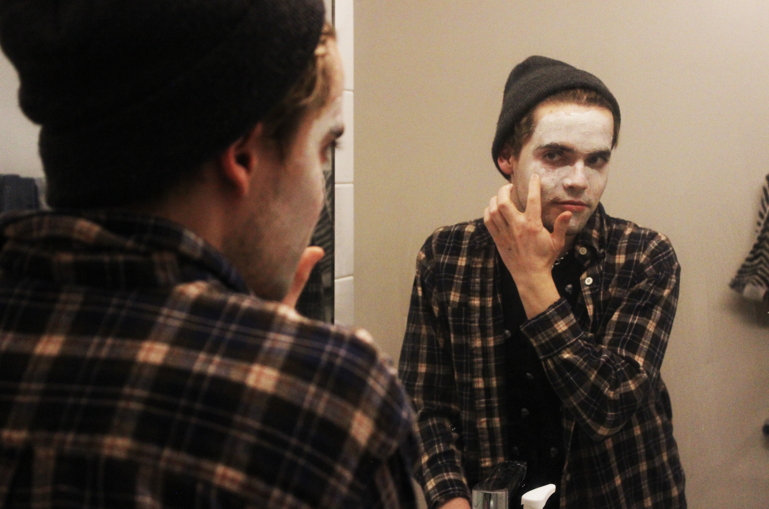 Luke Osborn winding down with a Glossier face mask.