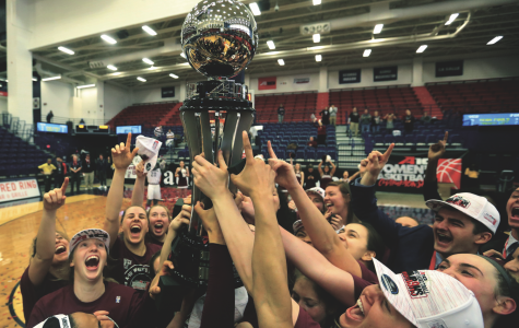 Following a 62-47 victory over Virginia Commonwealth, women's basketball celebrates their Atlantic 10 Championship and automatic NCAA Tournament berth. Photo Courtesy of Austin Moriasy.