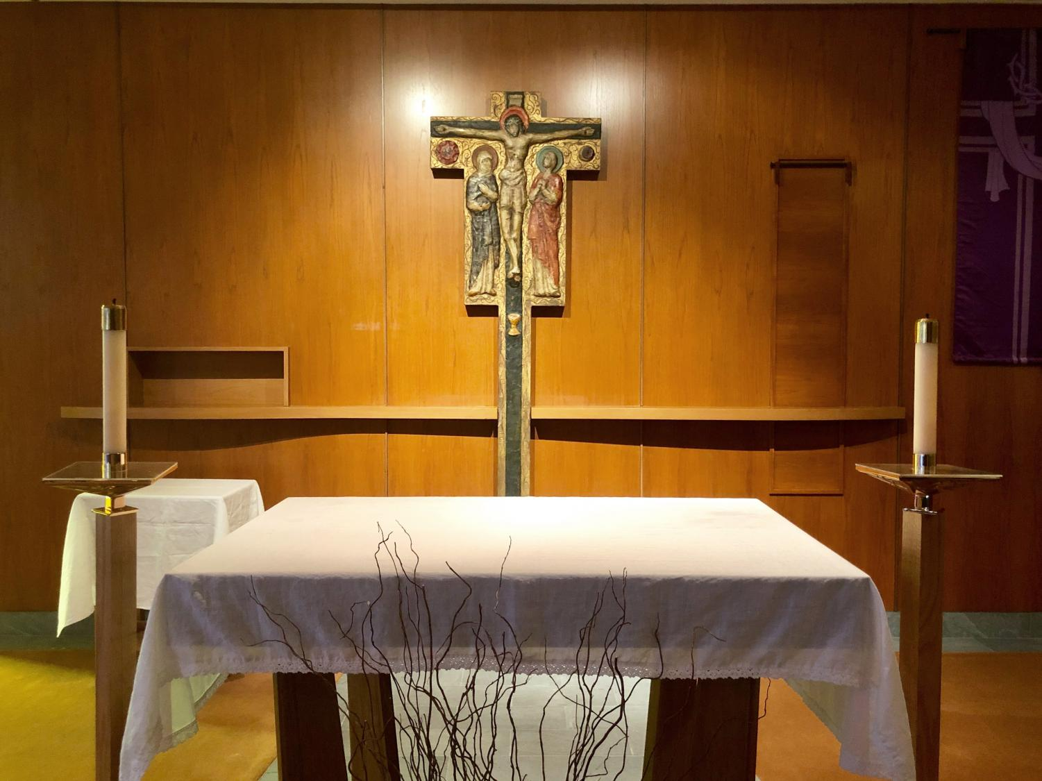 The altar in the chapel on the second floor of Lowenstein. Campus Ministry's office, the heart of spiritual development at Fordham at Lincoln Center, is also located on the second floor.