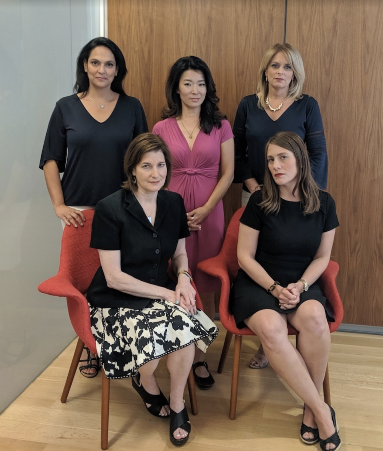 The plaintiffs of the case. From left to right (standing): Jeanine Ramirez, Vivian Lee and Kristen Shaughnessy. (Seated:) Roma Torre and Amanda Farinacci.
