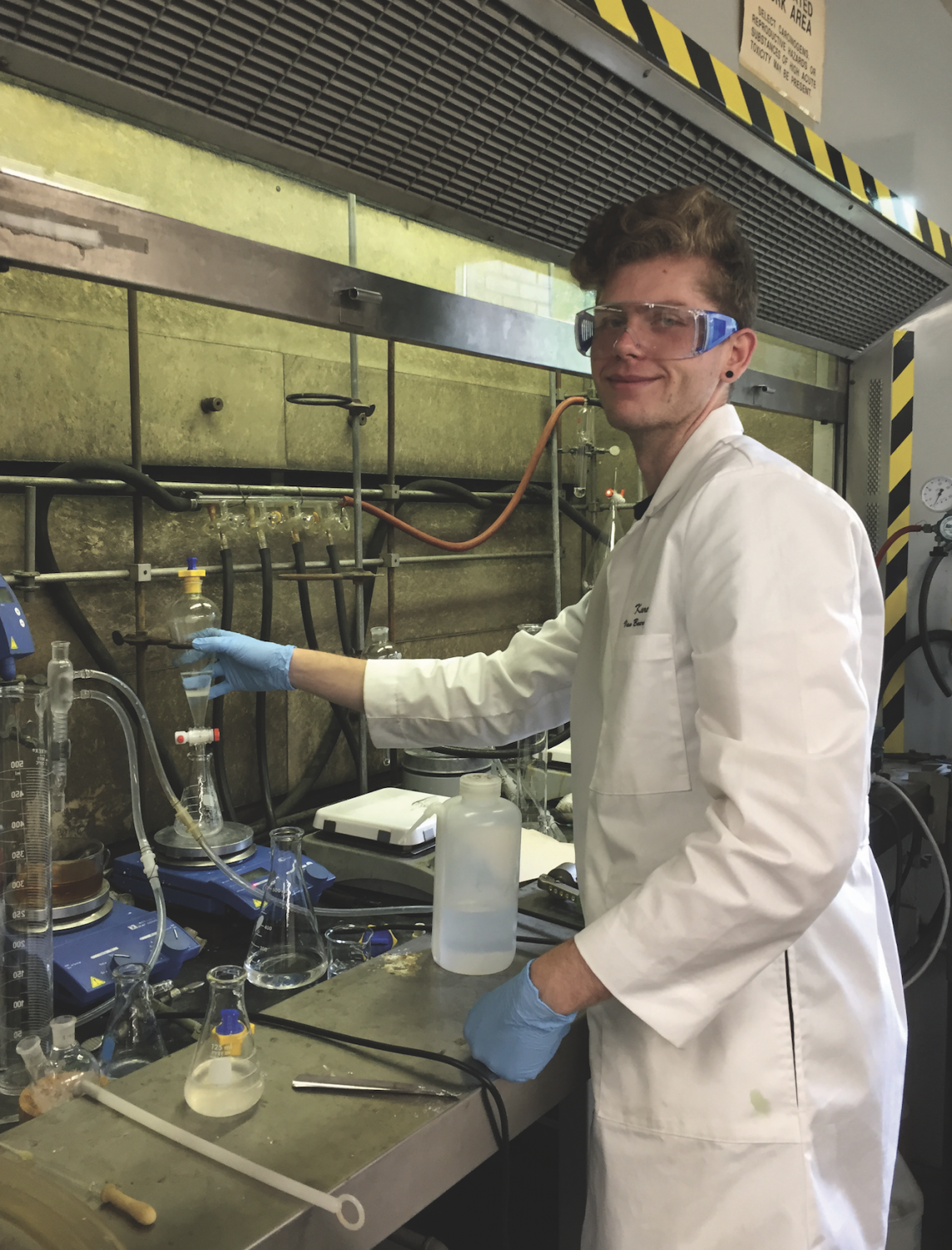 Karel Van Bourgondien, FCLC '21, working on an anti-Hepatitis C agent in a chemistry lab in John Mulcahy Hall at Rose Hill.