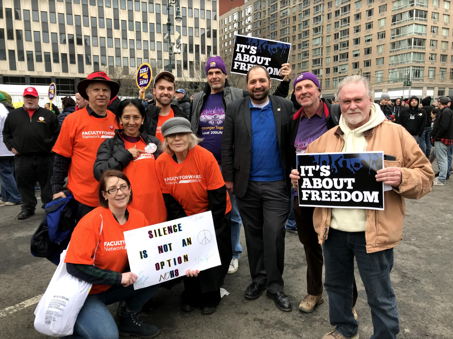 Fordham Faculty United members protesting at an event at the height of tensions during their campaign in April 2017.