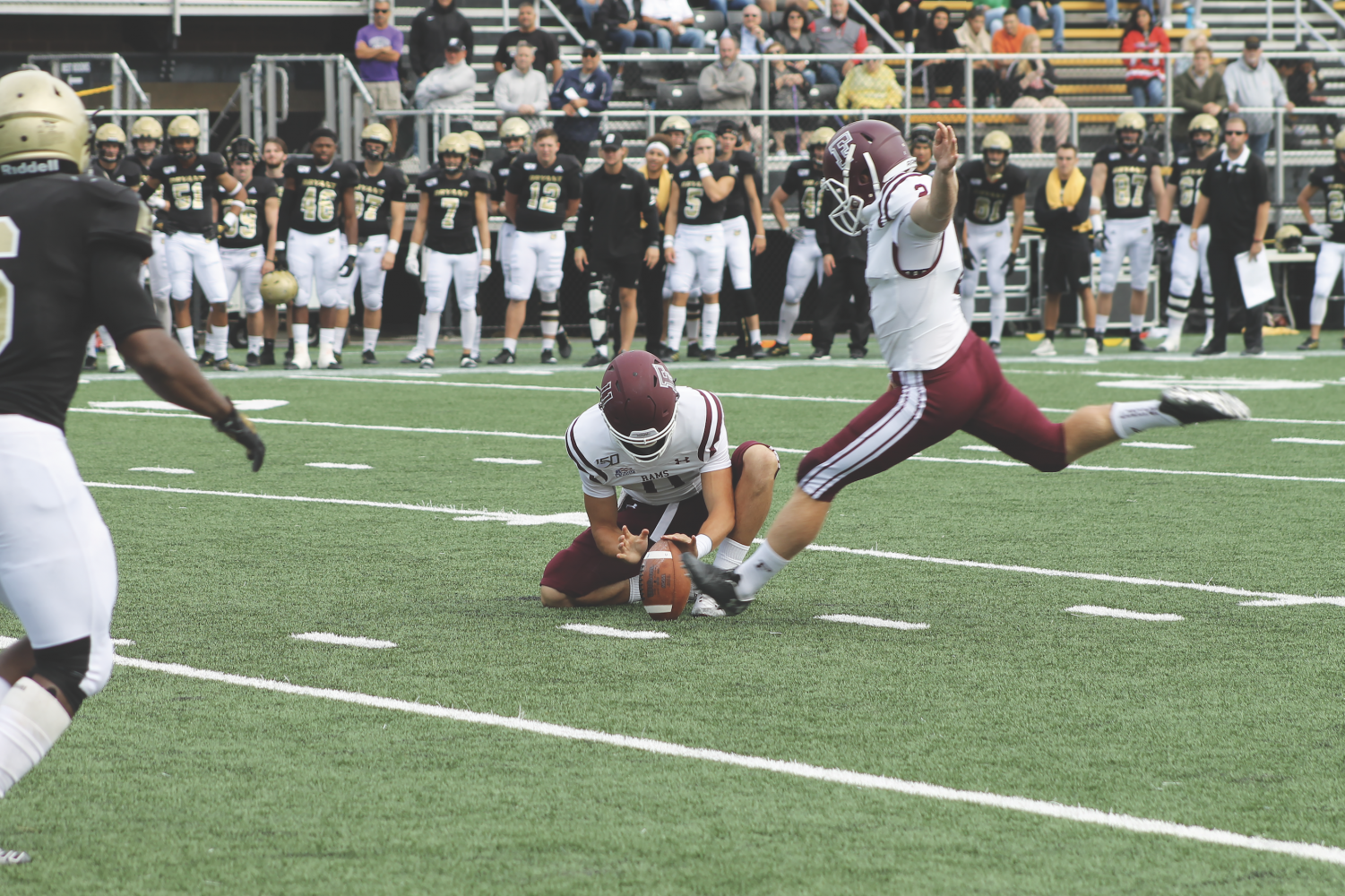 Andrew Mevis, FCRH '21, kicked three field goals against Bryant, two in the second quarter to keep the Rams in contention.