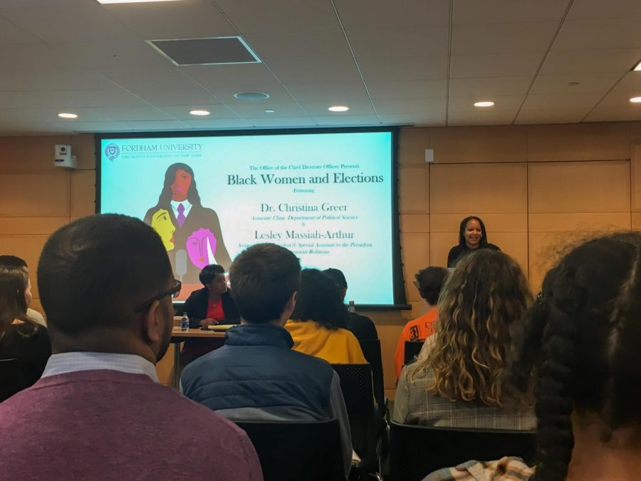 Speakers of the event included Lesley Massiah-Arthur, the associate vice president of government relations at Fordham and Dr. Christina Greer, the associate department chair of political science.