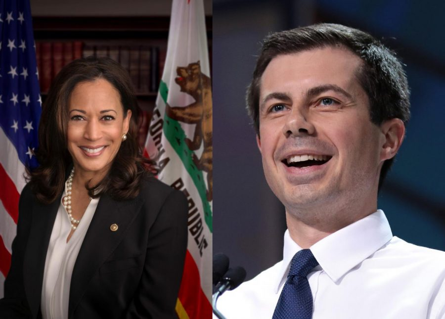 Senator+Kamala+Harris+%28left%29+and+Mayor+Pete+Buttigieg+%28right%29+have+both+suffered+in+the+polls+as+of+late.