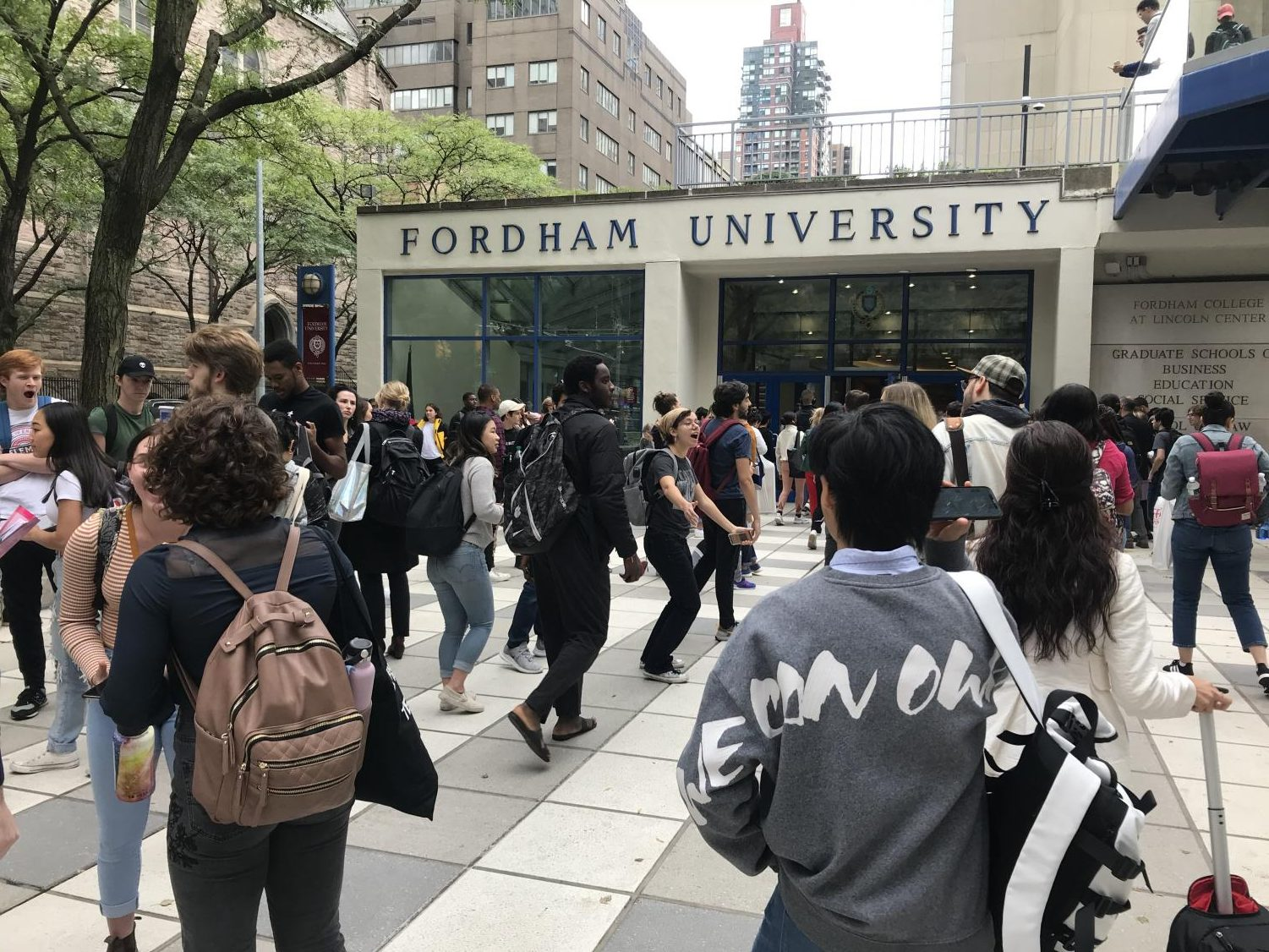 Students and faculty approaching the University from the Columbus Circle metro station reported alarm upon seeing the crowd gathered outside.