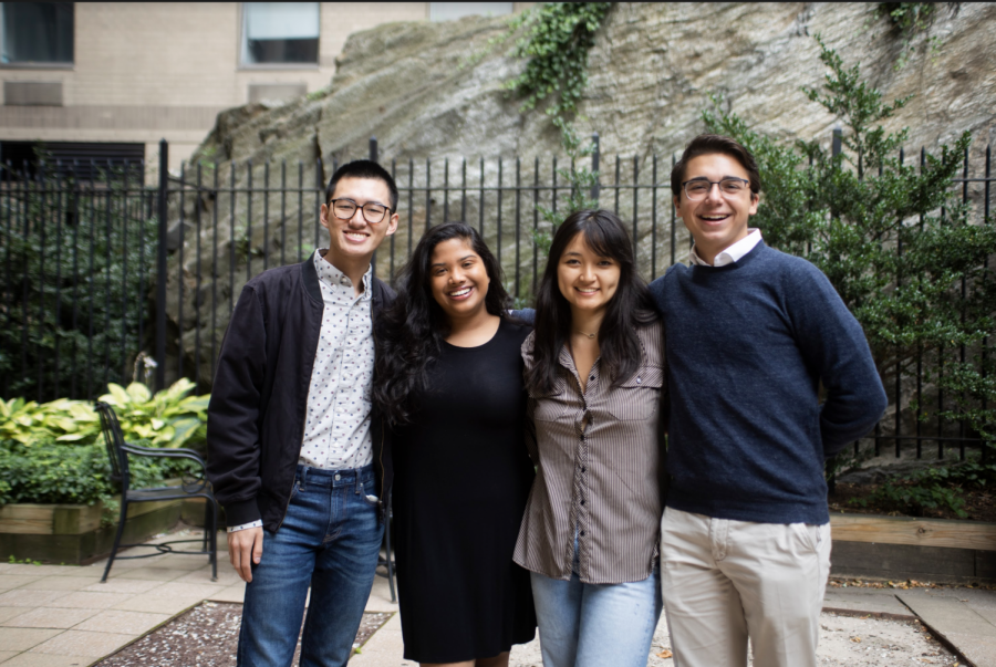 Faces of Leadership: Newly elected Ben Guo (left) and Yunuen Cho (second from right) join President Tina Thermadam (second from left) and Vice President Robert Stryczek (right) on USG.