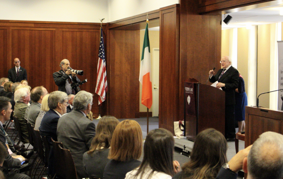 Michael Higgins speaks to a sold-out crowd at FCLC. On a highly publicized visit to New York City, he also appeared at the UN and on Jimmy Kimmel.