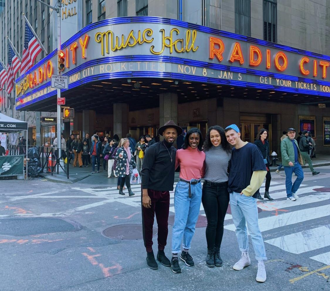 Ailey/Fordham students and alumni (left to right) Marquise Hitchcock, FCLC '18, Maya Addie, FCLC '21, Isabel Wallace-Green, FCLC '19, and Nicholas Begun, FCLC '21, will all perform in this year's show.
