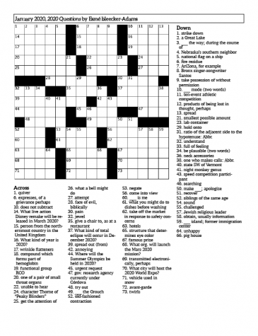 Crossword: 2020 Questions