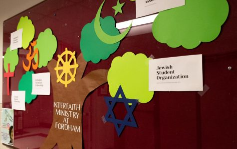 The Interfaith Ministry Board in the Lowenstein corridor displays the Star of David that was riped in half.