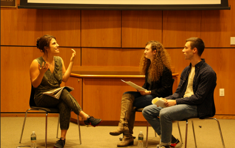 Journalism personality Lauren Duca, seen here in a Nov. 8 interview at the McNally Amphitheatre, protested