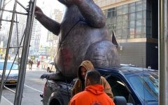 Inflatable Rat Protests on 60th Street